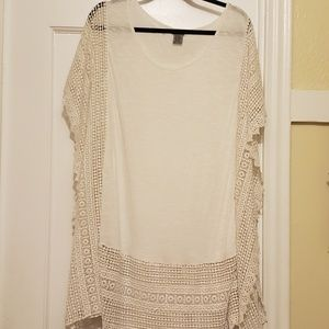 Bohemian hippie white shirt with lace edging